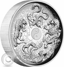 CHINESE ANCIENT MYTHICAL CREATURES High Relief 1 Oz Silver Coin 1$ Tuvalu 2016