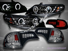 2006-2011 HONDA CIVIC 4DR CCFL HALO PROJECTOR HEADLIGHTS BLK G2+LED TAIL LIGHTS