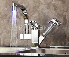 Pull Out chrome LED Stream Kitchen Sink Basin Mixer Tap Faucet