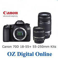 NEW Canon EOS 70D Twin lens Kit 18-55mm IS STM + 55-250mm IS II 1 Year Au Wty