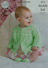 KNITTING PATTERN Baby Long Sleeve Lacy Matinee Cardigan &Shoes DK King Cole 4214