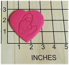 Mother Breastfeeding Baby in Heart Fondant Cookie Cutter and Stamp #1313