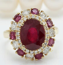 4.45CTW Natural Red Ruby and DIAMOND in 14K Solid Yellow Gold Women Ring