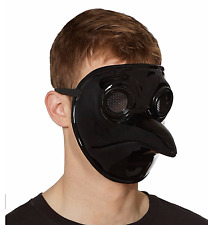 Scary Halloween Party Metallic Black Plague Mad Doctor Horror Costume Face Mask