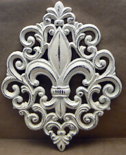 Fleur de lis Ornate Decorative Cast Iron Shabby Chic Wall Decor Off White Cream