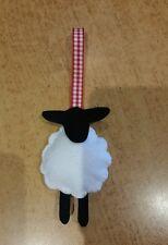 2 White sheep black hanging gisela graham gingham ribbon decoration christmas