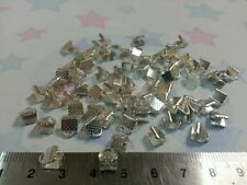 50 Silver Plated End Caps Crimp Beads 6X8mm Ideal For Finishing Necklaces