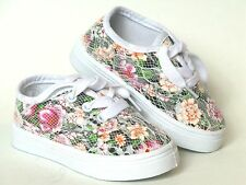 Baby Toddler Girls Canvas Flower Print Crochet Overlay Lace up shoe Sz 4-9