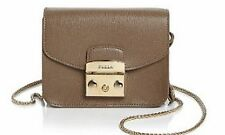 NWT FURLA METROPOLIS MINI CROSSBODY LEATHER ARES BAG DAINO TAUPE BROWN GREY $298