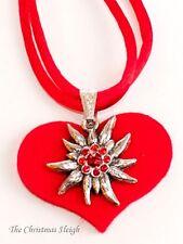 German Bavarian Women's Oktoberfest Jewelry - Swarovski Edelweiss on Felt Heart