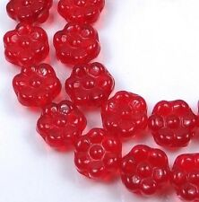 25 Czech Glass Daisy Flower Beads - Siam Ruby 8mm