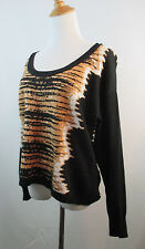 BLACK BROWN WHITE CASHMERE MIX REBECCA MINKOFF WOMENS LEOPARD PRINT SWEATER SZ M