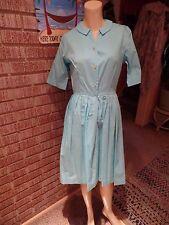 Women's Vintage 60's NPC Fashions Lt Turquoise Cotton Pleats Shirtwaist Dress S