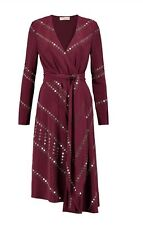 $1966 NWT TORY BURCH Embellished belted 100% silk crepe de chine dress Size 8
