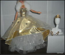 DRESS BARBIE  SUPERSTAR HOLIDAY DOLL GOLD  WHITE BALL EVENING GOWN & SHOES CROWN