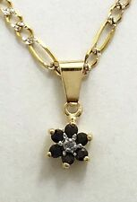 Natural 0.25 cts BLUE SAPPHIRE & DIAMOND 14k Yellow Gold Pendant *FREE SHIPPING*