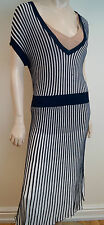 BCBG MAXAZRIA Navy Blue & Cream Ribbed Short Sleeve Long Length Dress Sz:L BNWT