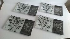 "4 Decorative Glass Tray Plate Dessert Candy Jewelry Black White Floral 9.5""by5.5"