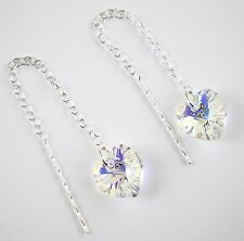 Sterling Silver 925 Swarovski Elements 10mm AB Heart Pull Through Drop Earrings