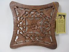 Square Curved Hand Carved Shesham Wood Gems By Sarna Leaf Pattern Trivet Hanging