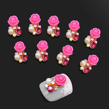 10x 3D Rose Flower Charms Rhinestone Pearl Nail Art Slices Alloy DIY Decorations