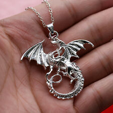 Fashion Silver Punk Dragon Charm Pendant Teenager Men Gift for Necklace Chain