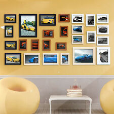 Beauty Handcrafted Wooden 26 pcs photo picture frame set wall mounted 4 Color