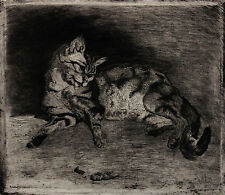 1860 | Ludovic LEPIC | Cat and Shrimp | ETCHING | after Charles Verat | SIGNED