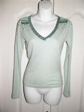 ANTHROPOLOGIE CHARLOTTE Mint Green Long Sleeve SEQUIN Sweater Small