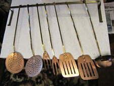 Vintage Copper Kitchen Chef Utensils With Brass Handles & Wall Rack 8 Pieces