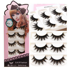5 Pairs Makeup Long Black Natural Handmade Thick Soft False Eyelashes Eye Lashes