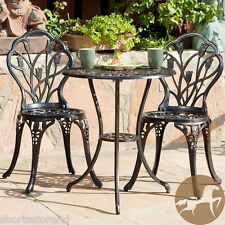 Cast Iron Bistro Patio Set Outdoor Table Chairs Furniture Sets 3 pc Metal