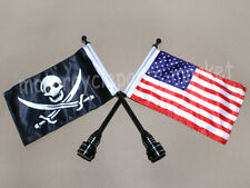 Rear Luggage Rack Bracket Mount Metal Pole Skull Pirate & US USA Flag For Harley