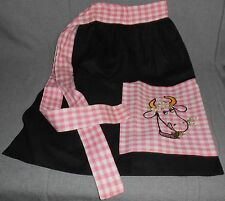 HUGE SET! Vintage PINK & BLACK Cow Motif 1940s-50s KITCHEN LINENS Embroidered