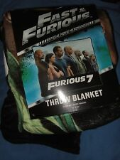 Fast and Furious 7 Paul Walker Vin Diesel & The Rock Plush Fleece Throw Blanket