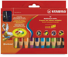 STABILO WOODY 3 in 1 SUPER JUMBO PENCILS WALLET OF 10 ASSORTED + SHARPENER