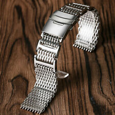 Men Women Silver Shark Mesh 22mm Push Button Stainless Steel Watch Band Strap