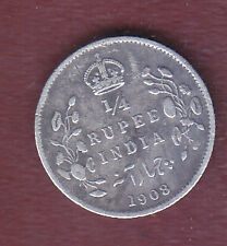 BRITISH INDIA   EDWARD VII  1/4  RUPEE  1908  SILVER  COIN