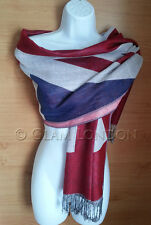 Union Jack Pashmina Scarf UK Flag Print Wrap/Shawl Unisex Surprise Souvenir Gift