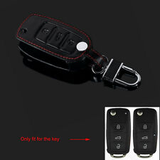 BLK Leather 3BTN Remote Key Chain Holder Cover Case for Jetta Golf Polo Tiguan