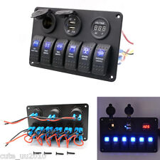 6 Gang Blue-LED Waterproof Black Rocker Switch Panel For Car/Marine/Boat/Caravan