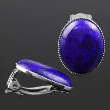 Lapis Lazuli Stone Healing Reiki Gemstone Oval Bead Clip-on Ear Earrings Jewelry