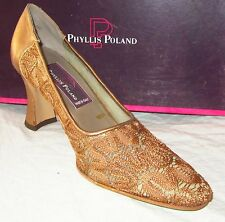 New $160 PHYLLIS POLAND Heels 7B Antique Gold Lace & Leather MADE IN ITALY Shoes