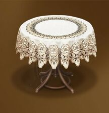 "Tablecloth round cream/dark gold lace NEW Ø120cm (47"") elegant gift"