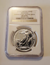 Britannia Mule w/ Lunar Obv 2014 1 oz Silver Coin - MS69PL NGC w/ STRIKE THROUGH