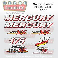 Mercury Marine Racing Optimax Pro XS 175HP Outboard Reproduction Decals 9 Pc