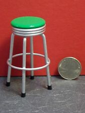 Dollhouse Miniature 1950's Silver & Green Bar Stool 1:12 one inch scale E27