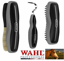 Wahl HORSE Equine GROOMING 3pc Set Combo Show Body Brush,Hoof Pick&Rubber Curry