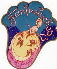 BEAUTIFUL ORIGINAL 1920s ART DECO FRENCH PERFUME LABEL - FANFRELUCHES