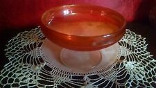 Marigold Carnival Glass Bowl Candy Serving Dish VTG Clear Foot Base CHERRIES